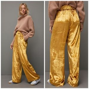 🆕 Anthropologie Maeve velvet wide leg pants XS